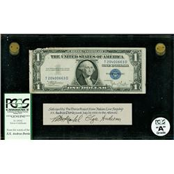 USA, $1 silver certificate, series 1935C, serial T20400663D, salvaged from the Andrea Doria (1956),