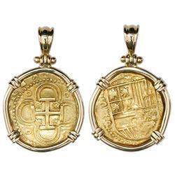Seville, Spain, cob 2 escudos, Philip II, assayer B below denomination and mintmark S to left, mount