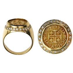 Lisbon, Portugal, 400 reis, Joao V, 1738, mounted cross-sided out in 18K gold ring (size 9-3/4) with