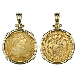 Madrid, Spain, bust 2 escudos, Charles III, 1788M, mounted bust-side out in 18K gold bezel with shac