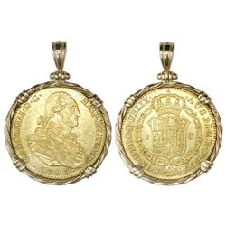 Madrid, Spain, bust 4 escudos, Charles IV, 1795MF, mounted bust-side out in twisted-wire 14K gold be