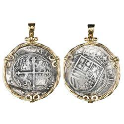 Mexico City, Mexico, cob 4 reales, Philip II, assayer O below mintmark oM to left (oMO), ex-Santiago