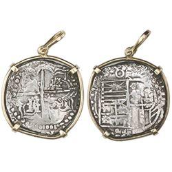 Potosi, Bolivia, cob 8 reales, Philip III, assayer T, quadrants of cross transposed, Grade 1, ex-Ato