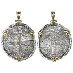Potosi, Bolivia, cob 8 reales, Philip III, assayer not visible, ex-Atocha (1622), Grade 2 (tag and c