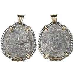 Potosi, Bolivia, cob 4 reales, Philip III, assayer M, Grade 2, ex-Atocha (1622), mounted in twisted-