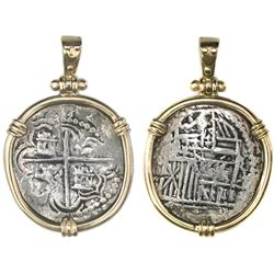 Potosi, Bolivia, cob 2 reales, Philip III, assayer RL (curved leg), ex-Atocha (1622), Grade 1 (tag a