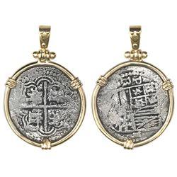 Potosi, Bolivia, cob 2 reales, Philip III, assayer RL (curved leg), ex-Atocha (1622), Grade 2 (tag a