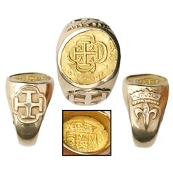 Mexico City, Mexico, cob 1 escudo, (1714J), from the 1715 Fleet, mounted in 14K men's gold ring (siz