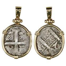 Lima, Peru, cob 2 reales, 1739V, ex-Princess Louisa (1743), mounted cross-side out in 14K gold bezel