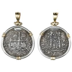 Potosi, Bolivia, cob 2 reales, 1683V, ex-Princess Louisa (1743), aligned axis, mounted in sterling s