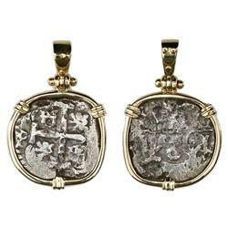 Potosi, Bolivia, cob 2 reales, Philip V, date and assayer not visible, ex-Princess Louisa (1743), mo