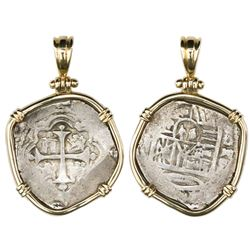 Mexico City, Mexico, cob 2 reales, Philip IV or Charles II, assayer G, mounted cross-side out in 14K