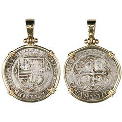 Mexico City, Mexico, cob 1 real, Philip II, assayer O to left, mintmark oM to right (O-oM), aligned