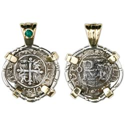 Mexico City, Mexico, cob 1/2 real, Philip II, assayer O to left, mintmark M to right, mounted cross-