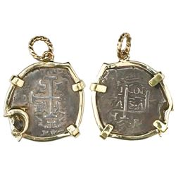 Lima, Peru, cob 1 real, 1707H, mounted cross-side out in 14K gold bezel with dolphin embellishment a
