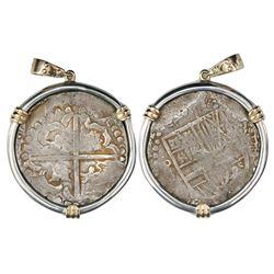Potosi, Bolivia, cob 8 reales, Philip IV, assayer not visible (late 1620s), quadrants of cross trans