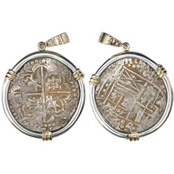 "Potosi, Bolivia, cob 8 reales, Philip IV, assayer P (late 1620s), ex-""Panama hoard"" (ca. 1629), moun"