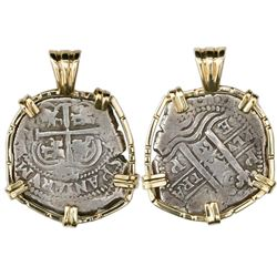 Potosi, Bolivia, cob 2 reales, 1660E, mounted cross-side out in 14K gold bezel.