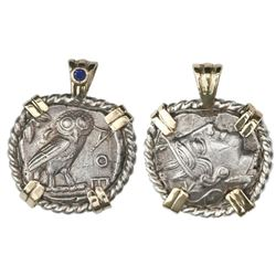 """Attica, Athens, AR tetradrachm, 454-404 BC, """"owl,"""" mounted in twisted-wire sterling silver bezel wit"""