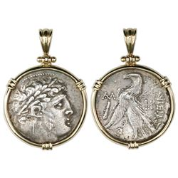 """Phoenicia, Tyre, AR tetradrachm """"shekel of Tyre,"""" aligned axis, mounted in 14K gold bezel with shack"""