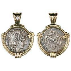 Roman Republic, AR denarius, L. Antestius Gragulus, 136 BC, Rome mint, mounted portrait-side out in