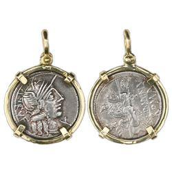Roman Republic, AR denarius, Q. Minucius Rufus, 122 BC, Rome mint, mounted portrait side out in 18K