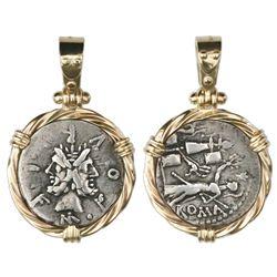 "Roman Republic, AR denarius, moneyer M. Furius L., ca. 119 BC, mounted ""Janus"" side out in twisted-w"