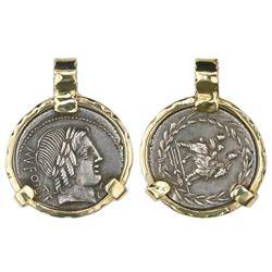 Roman Republic, AR denarius, Mn. Fonteius CF, 85 BC, Rome mint, mounted portrait-side out in 18K bez