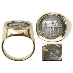Roman Republic, AR denarius, Julius Caesar, military mint traveling with Caesar, ca. 49 BC, mounted