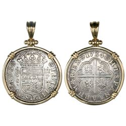 """Seville, Spain, milled 2 reales """"pistareen,"""" Philip V, 1734PA, medal alignment, mounted in 14K gold"""