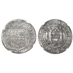 "Mexico City, Mexico, 4 reales, Charles-Joanna, ""Early Series,"" assayer R (Latin) at bottom below pil"