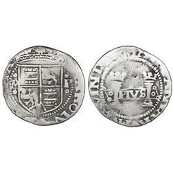 """Mexico City, Mexico, cob 1 real, Charles-Joanna, """"Early Series,"""" assayer P to right, mintmark M to l"""