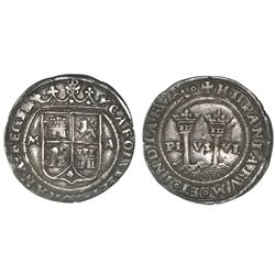 """Mexico City, Mexico, 1 real, Charles-Joanna, """"Late Series,"""" assayer A to right, mintmark M to left ("""