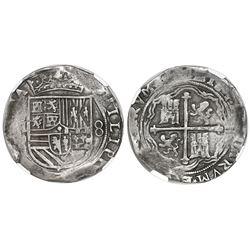 Mexico City, Mexico, cob 8 reales, Philip II, assayer O below mintmark oM to left (oMO), NGC XF 40.