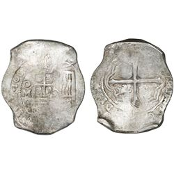 Mexico City, Mexico, cob 8 reales, 1652P, with chopmark as from circulation in Asia.