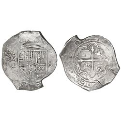 Mexico City, Mexico, cob 8 reales, 1656P, with chopmark as from circulation in Asia.