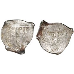 Mexico City, Mexico, cob 8 reales, 1657P, with chopmark as from circulation in Asia.