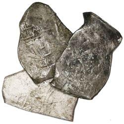 Lot of three Mexico City, Mexico, cob 8 reales, Charles II, assayers not visible, ex-Pasay hoard (Ph