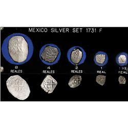 Denomination set of Mexico City, Mexico, cob 8-4-2-1-1/2 reales, 1731F, in custom plastic holder.