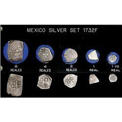 Denomination set of Mexico City, Mexico, cob 8-4-2-1-1/2 reales, 1732F, in custom plastic holder.