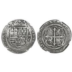 Mexico City, Mexico, cob 4 reales, Philip II, assayer O below mintmark oM to right  (oMO), NGC VF 25
