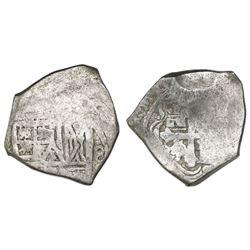 "Mexico City, Mexico, cob 4 reales, Charles II, error with denomination as ""8"" (rare)."