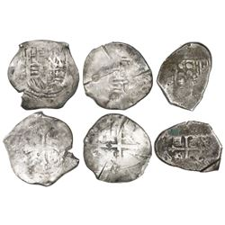 Lot of three Mexico City, Mexico, cob 4 reales, Philip IV and Charles II, assayers not visible, with