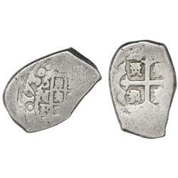 Mexico City, Mexico, cob 2 reales, 1730F, rare.