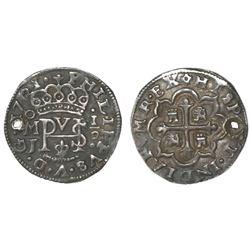 Mexico City, Mexico, cob 1/2 real Royal, 1721/20/19J, rare.