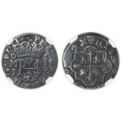 Mexico City, Mexico, cob 1/2 real Royal, 1721J, rare, NGC VF details / holed.