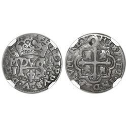 Mexico City, Mexico, cob 1/2 real Royal, 1722/0J, rare, NGC VF details / holed, ex-Rudman (stated on