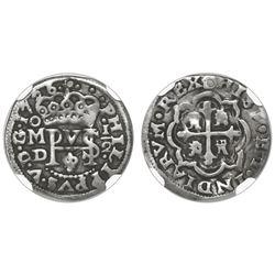 Mexico City, Mexico, cob 1/2 real Royal, 1726D, rare, NGC VF details / holed.