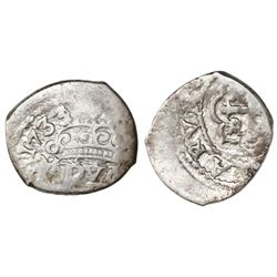 Mexico City, Mexico, cob 1/2 real, 1733/2(F).