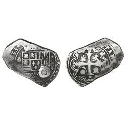 Mexico City, Mexico, klippe 8 reales, 1733F, struck on a cob flan (rare).